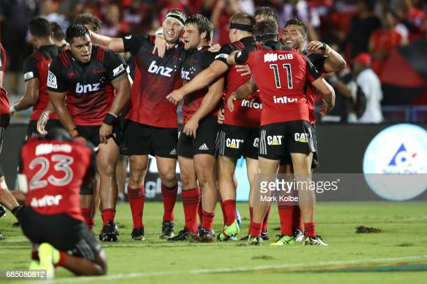 The Crusaders celebrate victory during the round 13 Super Rugby match between the Chiefs and the Crusaders at ANZ Stadium on May 19 2017 in Suva Fiji