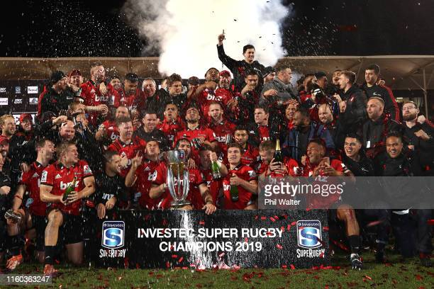 The Crusaders celebrate with the Super Rugby Trophy after winning the Super Rugby Final between the Crusaders and the Jaguares at Orangetheory...