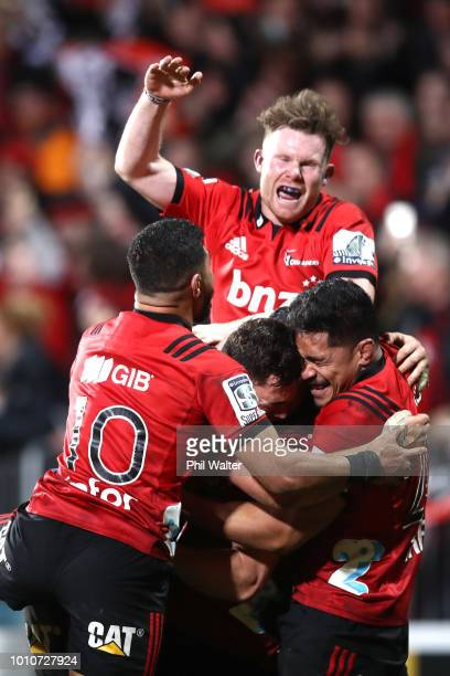 The Crusaders celebrates on full time during the Super Rugby Final match between the Crusaders and the Lions at AMI Stadium on August 4 2018 in...