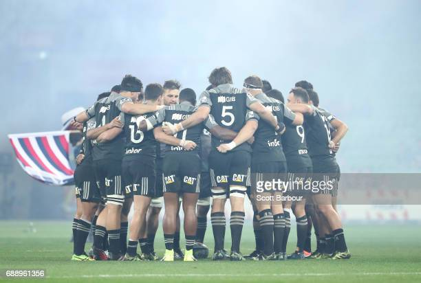 The Crusaders form a huddle during the round 14 Super Rugby match between the Rebels and the Crusaders at AAMI Park on May 27 2017 in Melbourne...