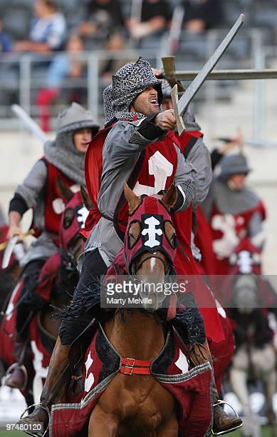 The Crusaders horsemen entertain the crowd before the round four Super 14 match between the Crusaders and the Blues at AMI Stadium on March 6 2010 in...