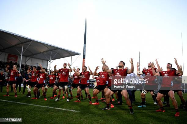 The Crusaders perform a haka after winning the round 9 Super Rugby Aotearoa match between the Crusaders and the Highlanders at Orangetheory Stadium...
