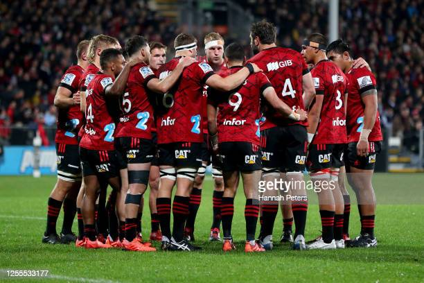 The Crusaders regroup during the round 5 Super Rugby Aotearoa match between the Crusaders and the Blues at Orangetheory Stadium on July 11, 2020 in...
