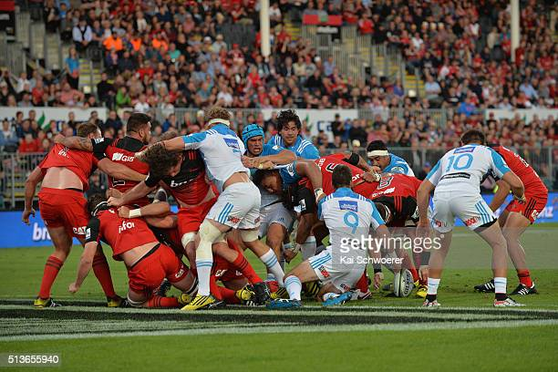 The Crusaders score a penalty try during the round two Super Rugby match between the Crusaders and the Blues at AMI Stadium on March 4 2016 in...