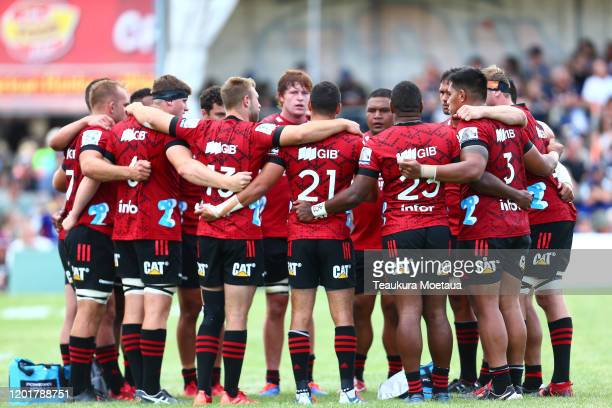 The Crusaders team looks on during the Super Rugby preseason match between the Highlanders and the Crusaders at Wanaka Showgrounds on January 24 2020...
