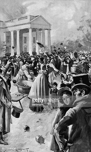 The crush at the White House after Andrew Jackson's Presidential inauguration in 1829 Undated illustration