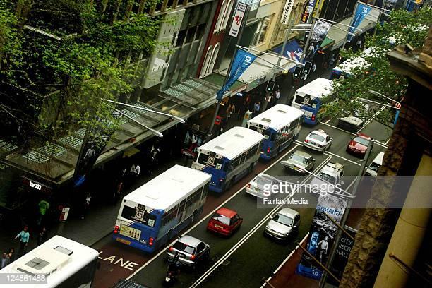 The crush for buses at peak hour in George Street Sydney 28 September 2004