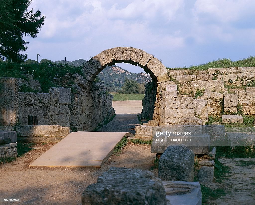 The Crypt, entrance to the Stadium of Olympia... : News Photo