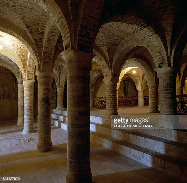 The crypt of the Church of St Mary of the Rock Offida Marche Italy 14th century