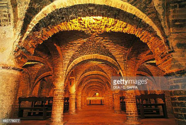 The crypt of the Church of St Mary on the Rock 14th century Offida Marche Italy