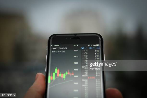 The Cryptotrader application is seen running on an iPhone on November 8 2017