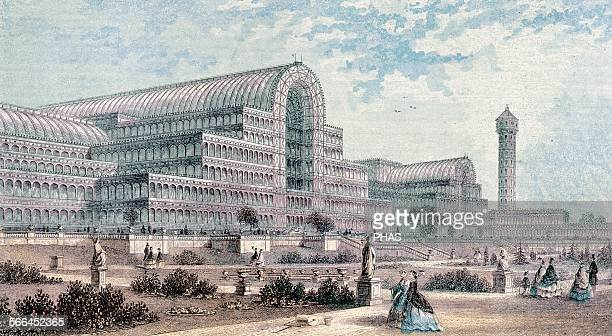 The Crystal Palace Castiron and plateglass building originally erected in Hyde Park London for Great Exhibition of 1851 Designed by Sir Joseph Paxton...