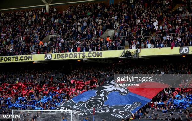 The Crystal Palace fans display a banner priro to the Premier League match between Crystal Palace and Hull City at Selhurst Park on May 14 2017 in...