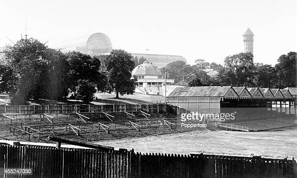 The Crystal Palace football ground in London with the Crystal Palace in the background circa 1910