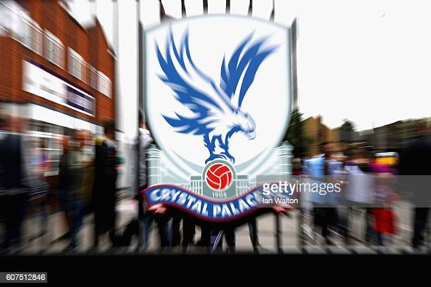 The Crystal Palace logo on a gate at the stadium during the Premier League match between Crystal Palace and Stoke City at Selhurst Park on September...