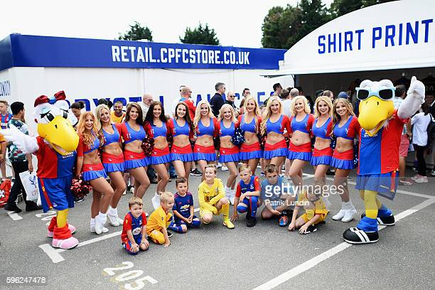 The crystals and the Crystal Palace mascots outside the club shop prior to kick off during the Premier League match between Crystal Palace and AFC...