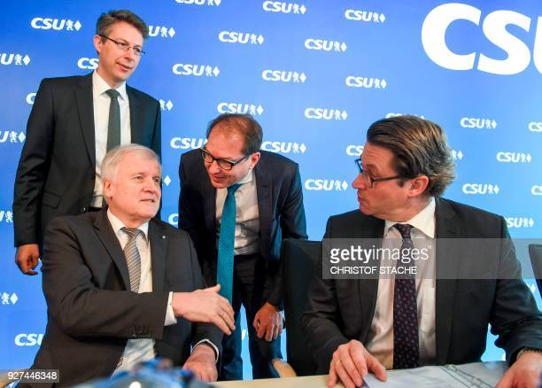 The CSU's deputy secretary Markus Blume the leader of the Christian Social Union Horst Seehofer CSU politician Alexander Dobrindt and the CSU's...