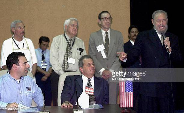 The Cuba President Fidel Castro speaking during the signing of the agreements between David Rallo president of Raldo Foods of Massachusets USA and...