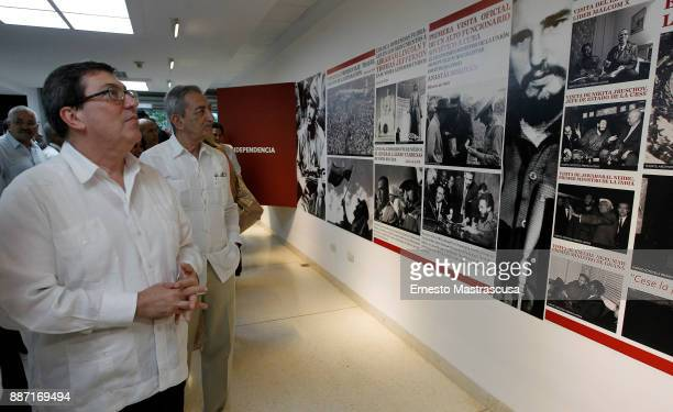 """The Cuban Chancellor Bruno Rodriguez Parrilla attends the inauguration of the photographic exhibition """"Fidel and the foreign policy of the Cuban..."""
