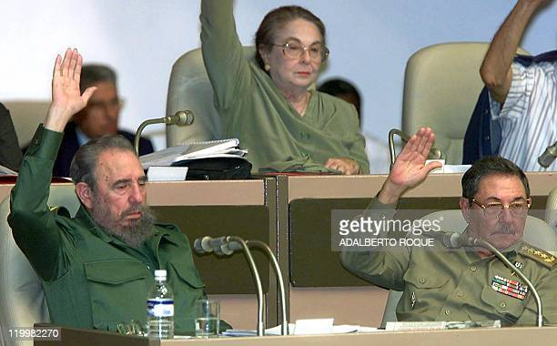 The Cuban president Fidel Casto the Minister of Armed Forces General Raul Castro and his wife Vilma Espin participate in a Cuban parliamentary...