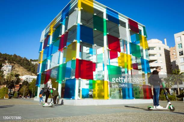 the cube at the centre pompidou malaga - daniel buren stock pictures, royalty-free photos & images