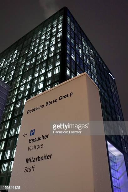The Cube Deutsche Boerse's headquarters on January 21 2013 in Frankfurt Germany The annual reception at the HQ brings together leaders from the world...