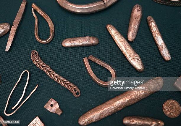 The Cuerdale Hoard a hoard of more than 8600 items including silver coins English and Carolingian jewellery hack silver and ingots Dated 9th Century