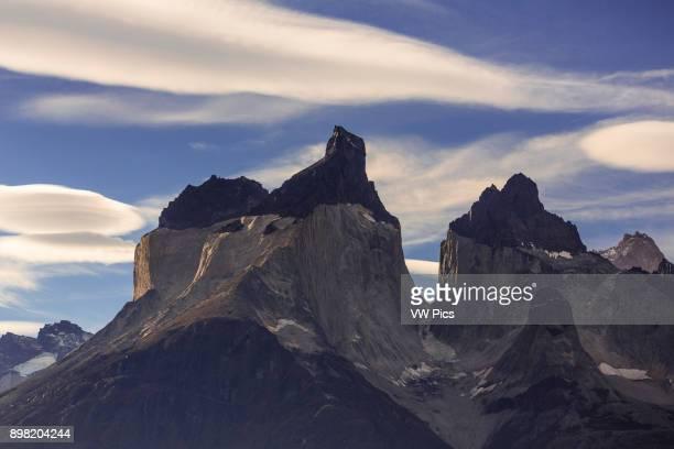 The Cuernos del Paine or the Horns with Cerro Cuerno Principal or Main Horn in front Cerro Cuerno Este or East Horn at right and Cerro Cuerno Norte...