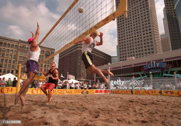 The Cuevro Beach City Challenge 200 tons of sand transform a parking lot on Hennepin Ave between 6th 7th into a volleyball court where professional...
