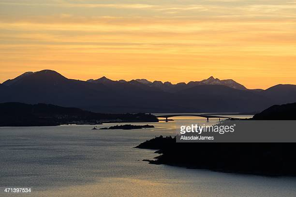 The Cuillins and the Skye bridge at dusk