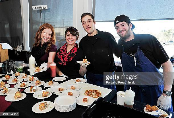 The culinary staff at East Ender from left Megan Schroeter Elizabeth Hart Jack Smith and Austin Miller serve up their creation of Fried Chicken...
