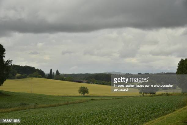 The cultivated lands under dark gray clouds