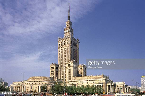 the cultural palace building in warsaw, poland - warsaw stock pictures, royalty-free photos & images