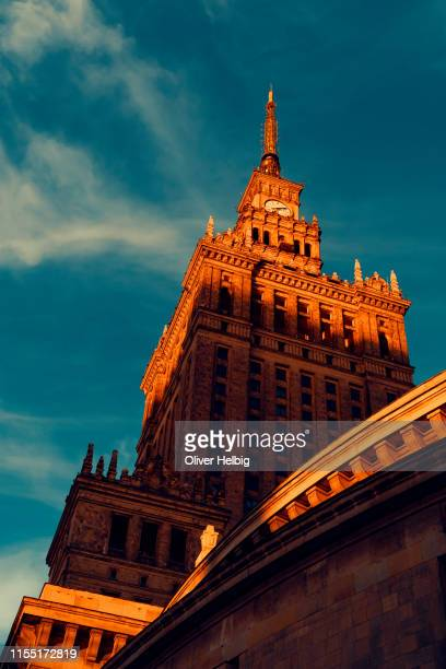 the culture palace in warsaw - warsaw stock pictures, royalty-free photos & images