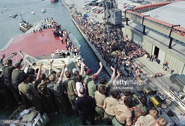 The Cunard liner 'RMS Queen Elizabeth 2' arrives back in Southampton after being requisitioned as a British troopship during the Falklands War 11th...