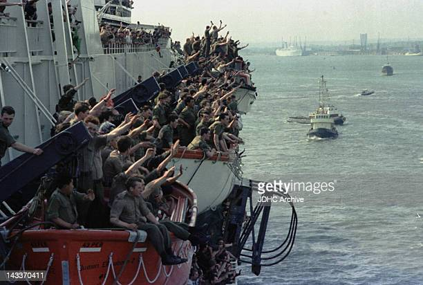The Cunard liner 'RMS Queen Elizabeth 2' leaves Southampton having been requisitioned as a British troopship during the Falklands War 12th May 1982