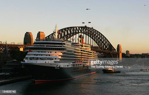 The Cunard passenger liner Queen Victoria arrives at the International Passenger Terminal at Circular Quay at dawn on its maiden voyage to Sydney The...