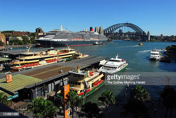 The Cunard passenger liner Queen Victoria docks at the International Passenger Terminal at Circular Quay at dawn on its maiden voyage to Sydney The...