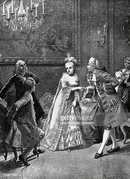 The cunning widow Act III scene XXV comedy by Carlo Goldoni engraving from 1888 by Giacomo Mantegazza