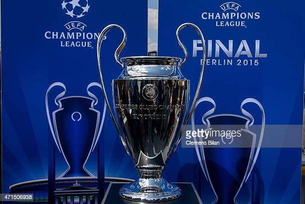 The Cup Is Pictured During UEFA Champions League Trophy Tour Berlin On April 29 2015