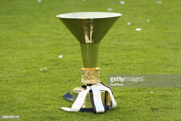 The Cup of the Scudetto, won by Juventus for the 33th time after the Serie A football match between Juventus FC and FC Crotone at Juventus Stadium on...