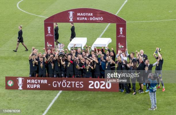 The cup winner team Budapest Honved celebrate during the Hungarian Cup Final match between Budapest Honved and Mezokovesd Zsory FC at Puskas Arena on...