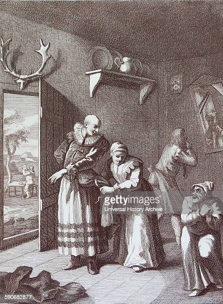 The curate and the barber disguises themselves to take Don Quixote home 1754 Engraving by William Hogarth 18th century