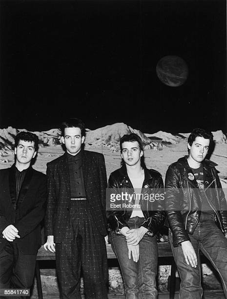 UNITED STATES APRIL 17 HURRAH'S The CURE and Robert SMITH and Lol TOLHURST and Simon GALLUP and Matthieu HARTLEY Posed group portrait LR Lol Tolhurst...