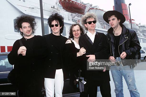 The Cure arrive in America on the QE2 at Pier 90 in New York City on August 20 1989 Robert Smith Roger O'Donnell Porl Thompson Boris Williams and...