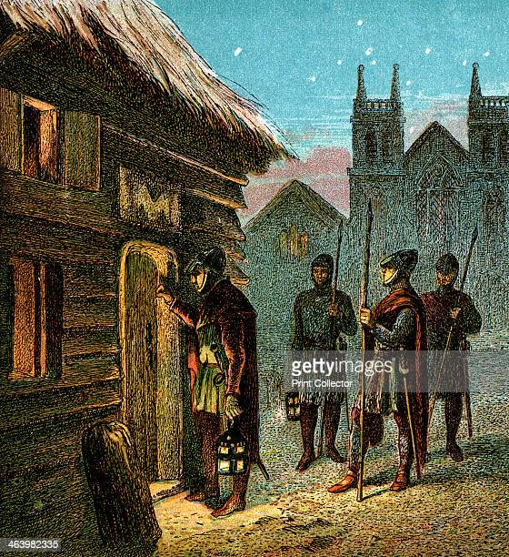 'The Curfew', . Curfew law was signified by the sound of a bell whilst guards went round houses extinguishing fires. Colour plate from Pictures of...