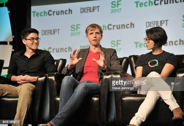 The CurioPets Company CEO Nathan Kong Escher Reality CEO Ross Finman and Escher Reality CTO Diana Hu speak onstage during TechCrunch Disrupt SF 2017...