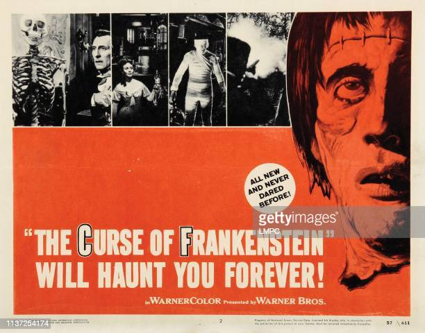 The Curse Of Frankenstein lobbycard Peter Cushing Hazel Court Christopher Lee 1957