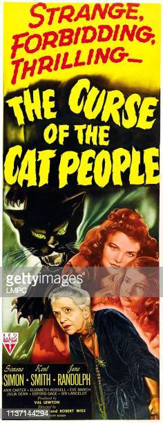 The Curse Of The Cat People, poster, clockwise from top: Simone Simon, Ann Carter, Julia Dean on insert poster, 1944.