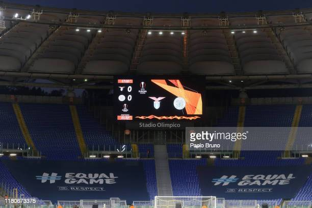 The Curva Nord stand which is closed by UEFA following racist behaviour from fans before the UEFA Europa League group E match between Lazio Roma and...